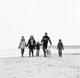 Family on the Beach in winter